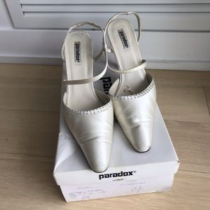 Paradox London Duchesse Ivory Silk Shoes